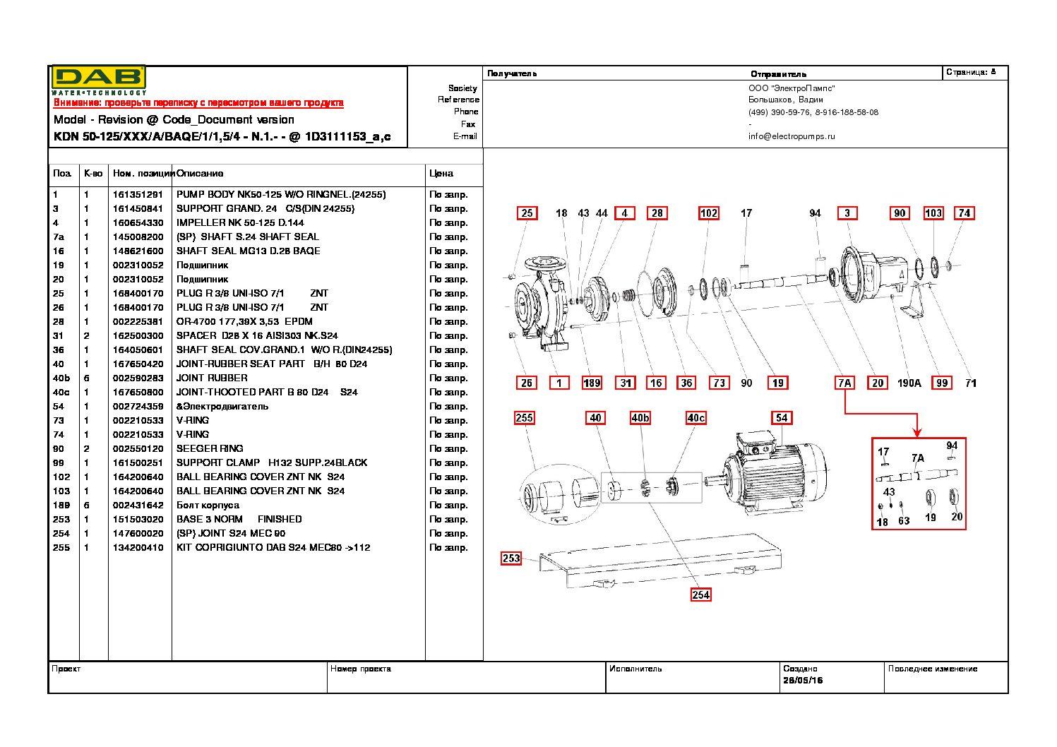Ремонт и запасные части для насоса DAB KDN50-125