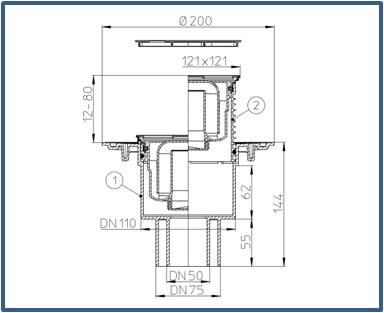 Трап для внутренних помещений HL310N-3000.11 с решеткой HL037Pr.11E — Золото