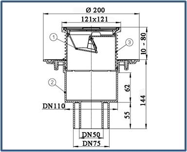 Трап для балконов и террас HL310N.2-3000