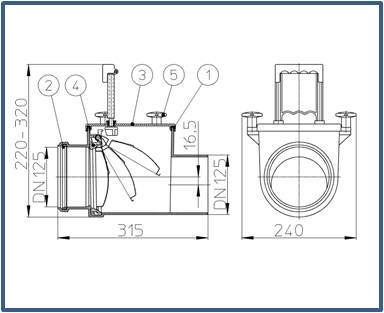 Механический канализационный затвор HL712.1