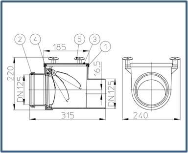 Механический канализационный затвор HL712