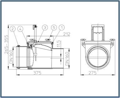 Механический канализационный затвор HL715.1
