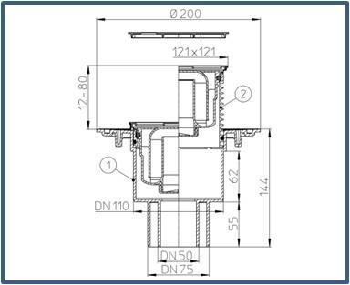 Трап для внутренних помещений HL310N-3000.3 с решеткой HL037Pr.3E — Латунь